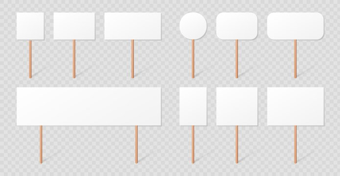 Blank demonstration banners collection isolated on transparent background. Protest signs on wood sticks set. Blank placard mockups with wooden holders realistic 3d vector illustration.