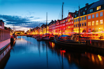 Wall Mural - View of famous Nyhavn area in the center of Copenhagen, Denmark at night