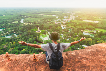 Foto auf Acrylglas Lachs Man traveler on top of hill look joy fun view countryside scenic landscape Phu Tok, Bueng Kan, Adventure nature tourist travel Thailand outdoor vacation trip, Tourism beautiful destination place Asia