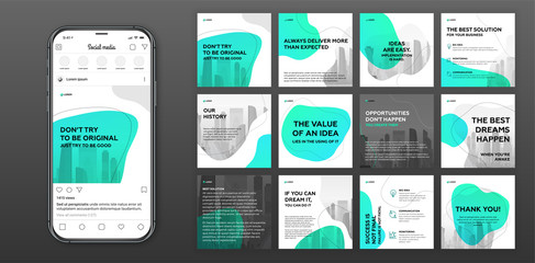 Social media post templates set for business with cityscape vector illustration on background. Square posts layouts for personal blog.