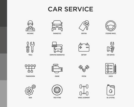 Car service thin line icons set: mechanic, computer diagnostics, ignition, steering wheel , battery, transmission, engine, piston, oil petrol, tire fitting. Modern vector illustration.