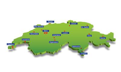 Switzerland map with main cities