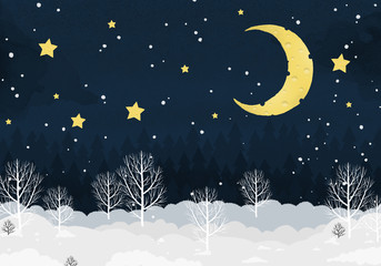 winter landscape, night forest, new year 2020,cheese moon and stars, template for design