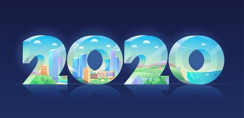 2020 year Volumetric figures city landscape cottage seaside resort.