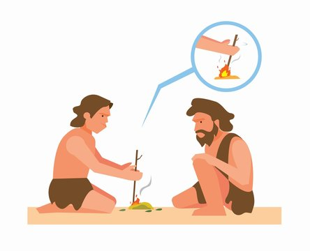 ancient human making fire from rubbing twig illustration vector
