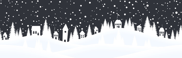 christmas landscape background with village and snow