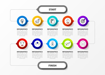 Wall Mural - Infographic design template. Creative concept with 10 steps