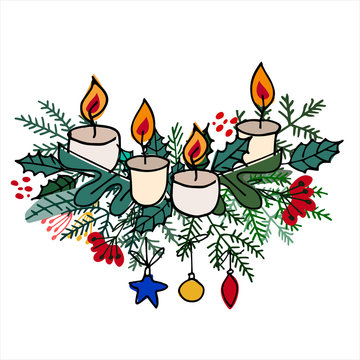 Advent wreath with Christmas tree branches, baubles, ornaments, candles on white background
