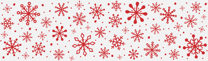 Panoramic header with hand drawn snowflakes. Christmas ornament. Vector Fotomurales