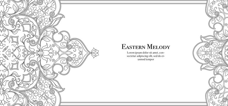 Eastern ethnic motif, traditional muslim ornament. Template for wedding invitation, greeting card, banner, gift voucher, label. Vector illustration