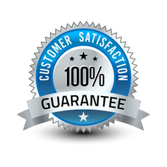 Steel blue 100% reliable customer satisfaction guarantee badge with ribbon isolated on white background.