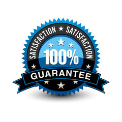 Strong blue colored 100% satisfaction guarantee badge with sleek ribbon isolated on white background.