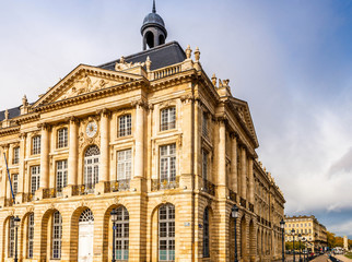 Building of the place de la bourse in Bordeaux in Gironde, Nouvelle-Aquitaine, France