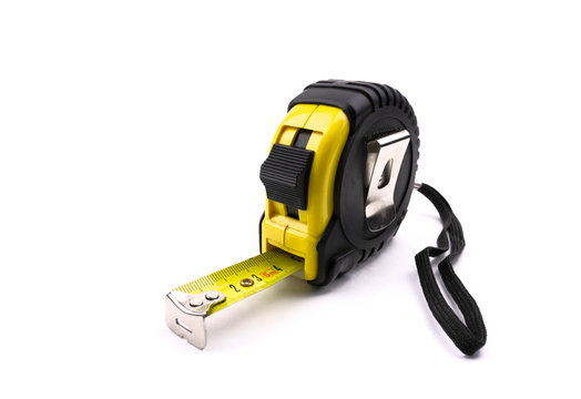 construction tape measure isolated on white background