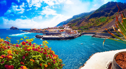 Tenerife island scenery.Ocean and beautiful stone,Garachico beach.Nature scenic seascape in Canary Island.Landscape in Garachico village