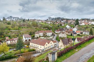 Armancon river in Semur-en-Auxois, France
