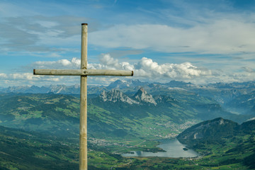 Beautiful view on Swiss Alps from top of Mount Rigi