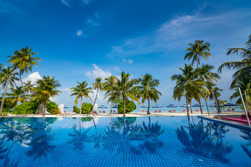 Beautiful beach and pool. View of nice tropical beach with palms around. Holiday and vacation concept. Tropical beach.