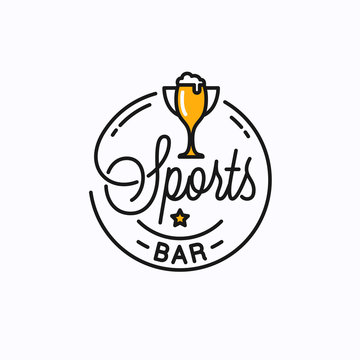 Sports bar logo. Round linear of sports trophy cup