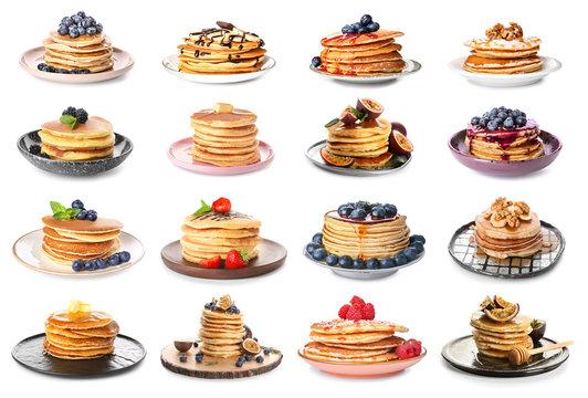 Set with tasty pancakes on white background
