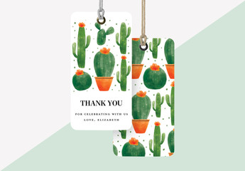 Baby Shower Gift Tag Layout with Cactus and Succulent Illustrations
