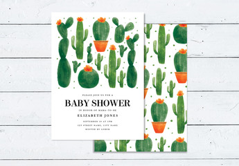 Baby Shower Invitation Layout with Cactus and Succulent Illustration