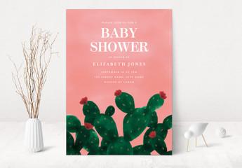 Cactus Baby Shower Invitation Layout