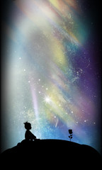 Little prince and rose silhouette art photo manipulation