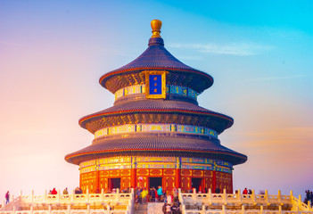 Temple of Heaven Park scenery. The Chinese texts on the building meaning is Prayer hall. The temple is located in Beijing, China.