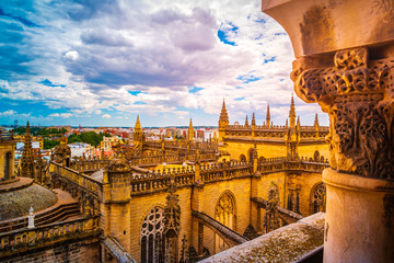 Aerial view of Seville city and Cathedral of Saint Mary of the See in Seville, Andalusia, Spain, Europe