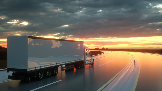 Semi trailer on asphalt road highway at sunset - transportation background. 3d rendering