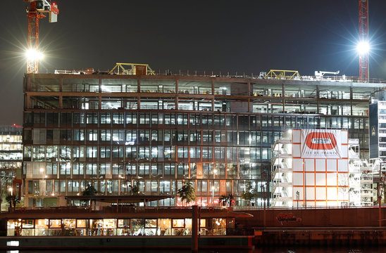 The logo of Bouygues is seen on the construction site of the new Orange telephone company headquarters in Issy-les-Moulineaux near Paris