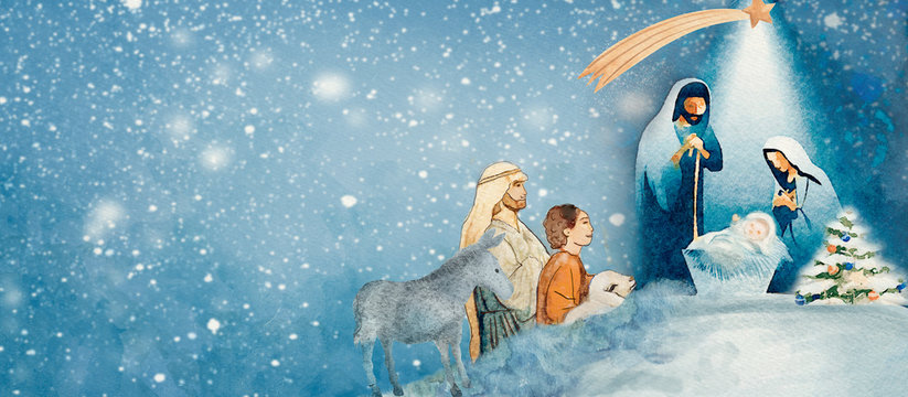 Nativity scene. Merry Christmas watercolor background.