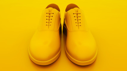 Men's shoes. Minimal idea concept. 3d illustration