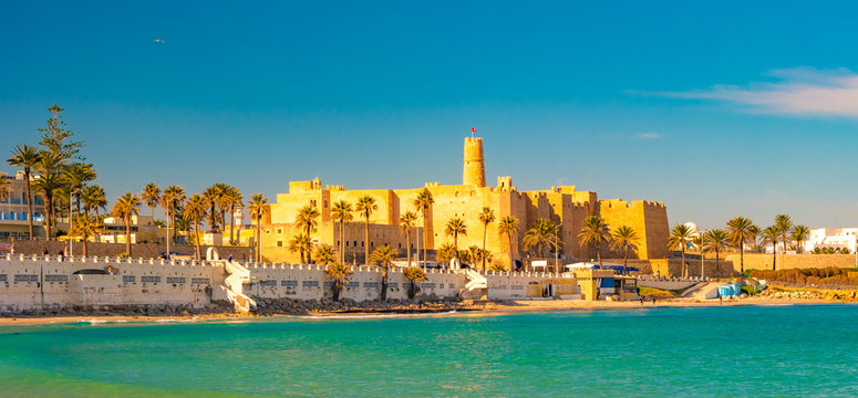 Monastir in Tunisia is an ancient city and popular tourist destination on the Mediterranean Sea.
