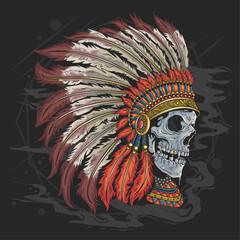 indian skull geometric tshirt template
