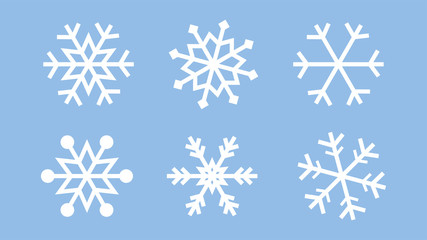 Wall Mural - Snowflake set on isolated background. Isolated snowflake collection. Frost background. Christmas icon. Vector illustration