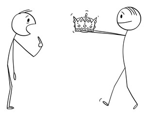 Vector cartoon stick figure drawing conceptual illustration of man giving crown of king or kingdom to unbelieving surprised man during coronation or crowning ceremony.