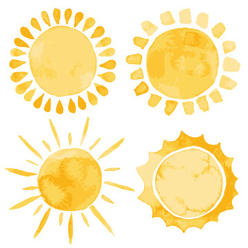 Yellow ink  of four suns watercolor vector illustration