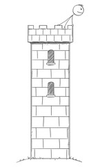 Vector cartoon stick figure drawing conceptual illustration of man or businessman hidden safe inside of tower or castle watching thread, danger and crisis.