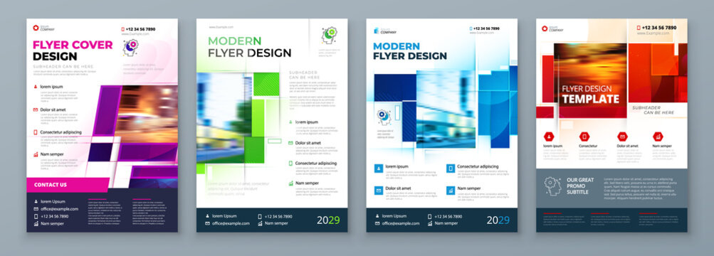 Flyer Template Layout Design. Corporate Business Flyer, Report, Catalog, Magazine Mockup. Creative modern bright concept with square shapes