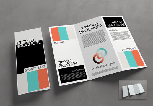 Trifold Brochure Mockup on a Concrete Surface