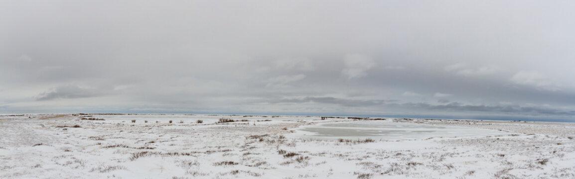 Panorama of frozen tundra