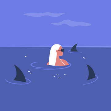 Young female character surrounded by shark fins swimming in the ocean, risk and stress in modern life