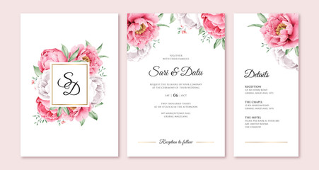 Elegant wedding invitation with romantic peony aquarel