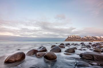 Beautiful rocks at Uttakleiv Beach, Lofoten Islands, Norway, Scandinavia, long exposure