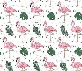 Vector seamless pattern of hand drawn doodle sketch pink flamingo and green palm leaves isolated on white background