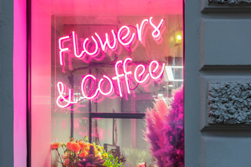 neon sign flowers and coffee. romantic floral gifts. nature love