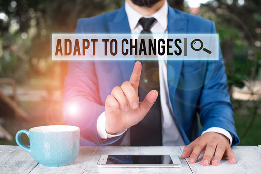 Handwriting text writing Adapt To Changes. Conceptual photo Embrace new opportunities Growth Adaptation progress Businessman with pointing finger in front of him