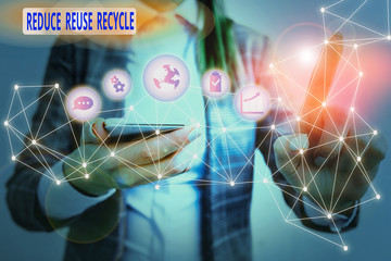 Text sign showing Reduce Reuse Recycle. Business photo text environmentallyresponsible consumer behavior Picture photo system network scheme modern technology smart device